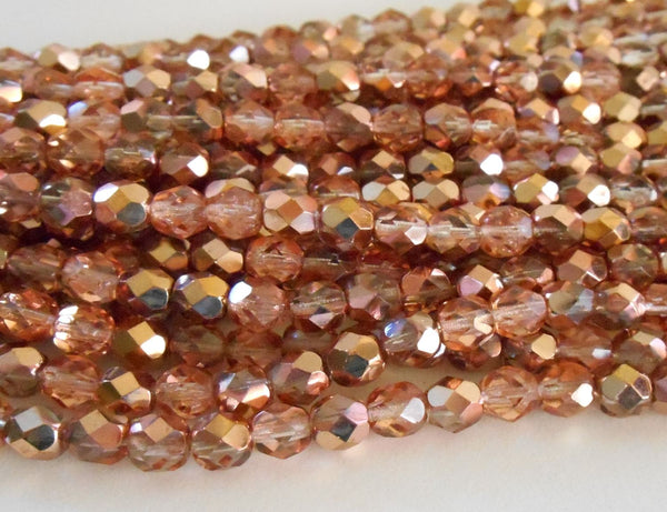 Lot of 25 6mm Apollo Gold Czech glass, crystal and gold firepolished, faceted round beads, C9425 - Glorious Glass Beads