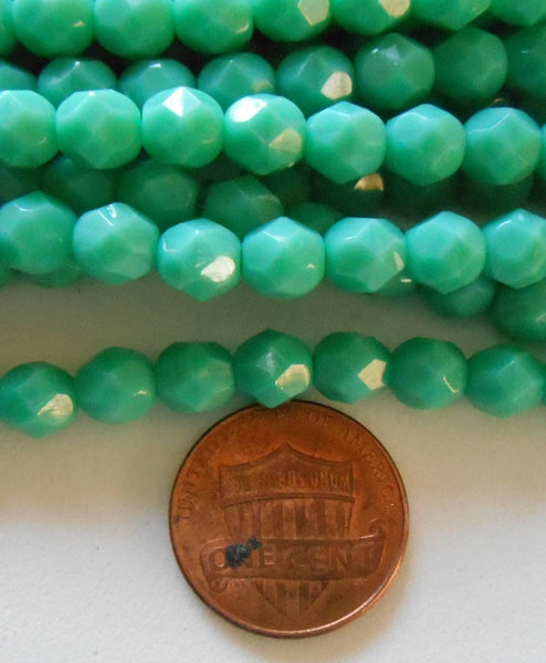 Lot of 25 6mm Turquoise Czech glass, opaque firepolished, faceted round beads, C9425