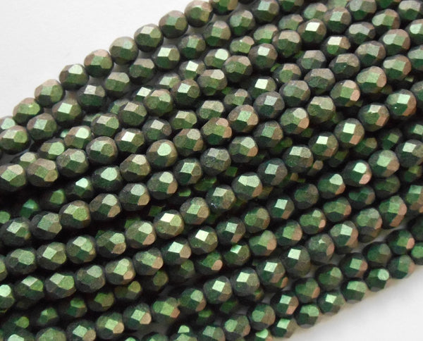Lot of 25 6mm Polychrome Olive Czech glass dark green firepolished, faceted round beads, C4625