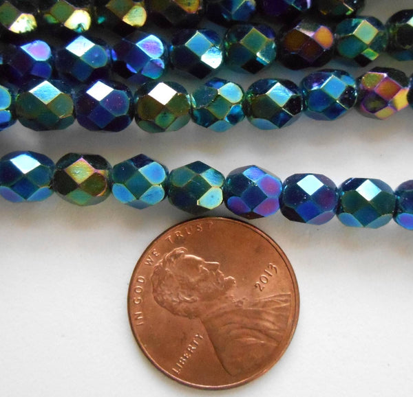 Lot of 25 6mm Iris Green Czech glass, firepolished, faceted round beads, C6425