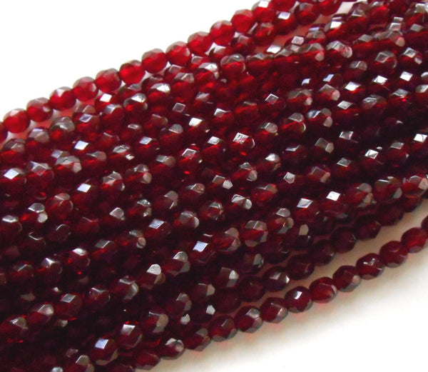 Lot of 25 6mm Ruby Red, Garnet Czech glass firepolished, faceted round beads, C6425