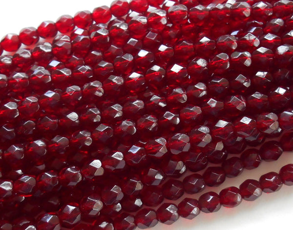 Lot of 25 6mm Ruby Red, Garnet Czech glass firepolished, faceted round beads, C6425 - Glorious Glass Beads