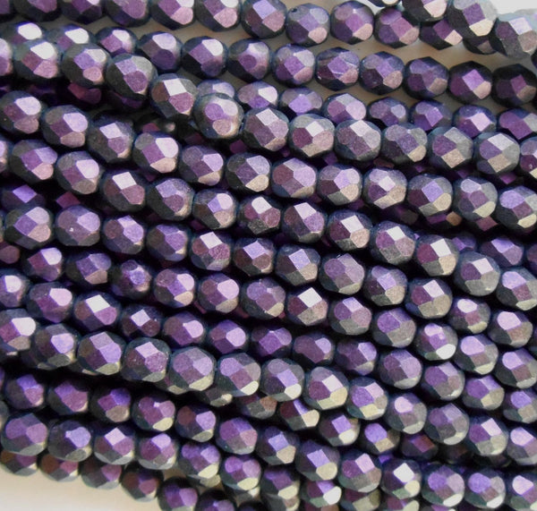 Lot of 25 6mm Polychrome Black Currant Czech glass dark purple firepolished, faceted round beads, C4625