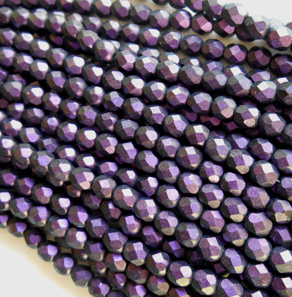 Lot of 25 6mm Polychrome Black Currant Czech glass dark purple firepolished, faceted round beads, C4625 - Glorious Glass Beads