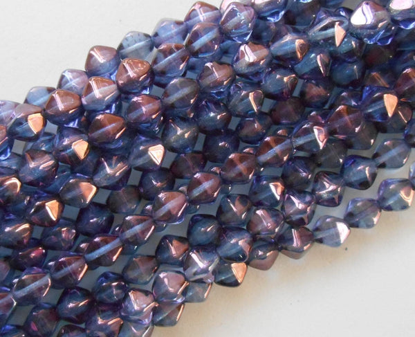 Fifty 6mm Transparent Amethyst Luster bicone pressed glass purple Czech beads, C8650 - Glorious Glass Beads
