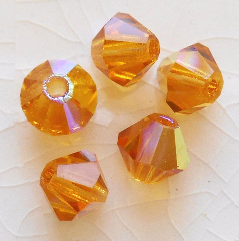 Lot of 20 4mm Czech Preciosa Crystal Topaz AB glass faceted bicone beads, C4520 - Glorious Glass Beads