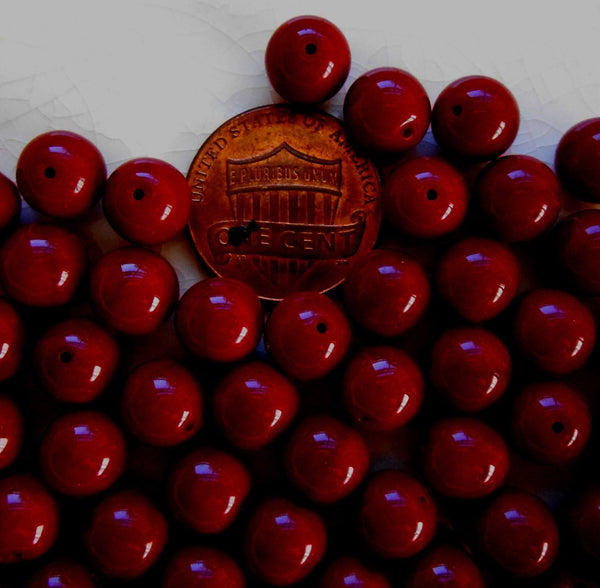 Lot of 25 8mm Czech glass Opaque Blood Red druk beads,  C5625