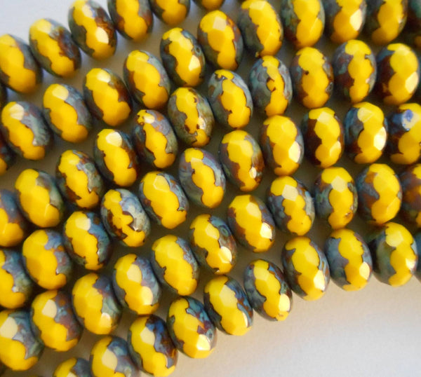 Czech glass Pineapple Picasso Faceted Puffy Rondelle Beads, 6 x 9mm, lot of 31, C8001