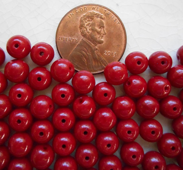 Fifty 6mm Czech glass Opaque Blood Red druk beads, C3601 - Glorious Glass Beads