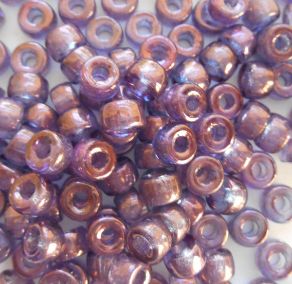 Fifty 6mm Czech glass Lumi Amethyst pony roller beads, large hole iridescent beads, C4350 - Glorious Glass Beads