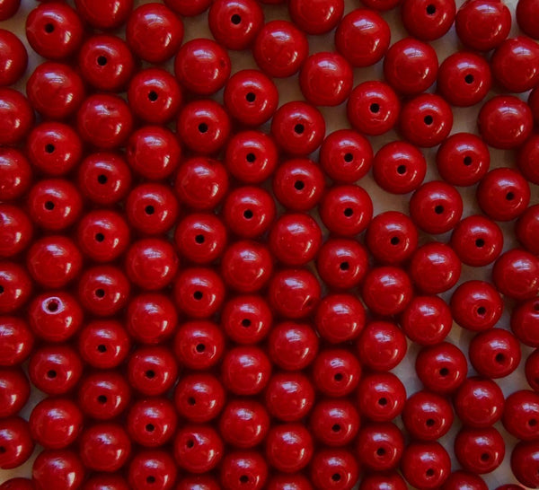 Fifty 6mm Czech glass Opaque Blood Red druk beads, C3601