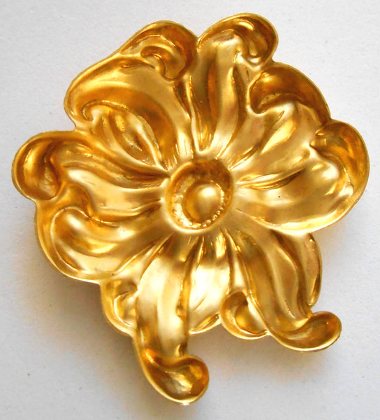 1 Large Raw Brass Flower Stamping, Charm, Pendant, Component, Connector, 44mm, made in the USA C1501