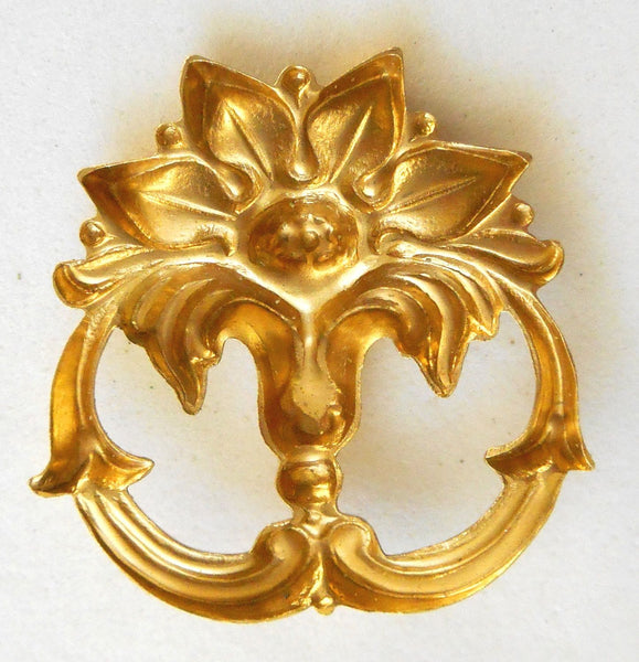 One raw brass victorian floral connector, pendant, charm, brass stamping, 26 x 26mm, made in the USA, C7401