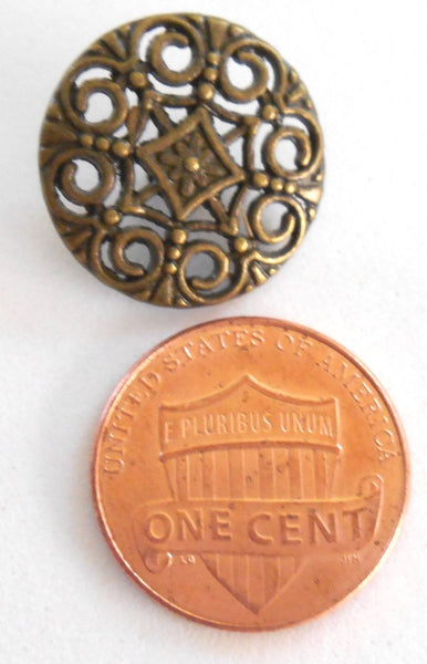 One antique bronze decorative shank button with openwork, 18mm, C3211 - Glorious Glass Beads
