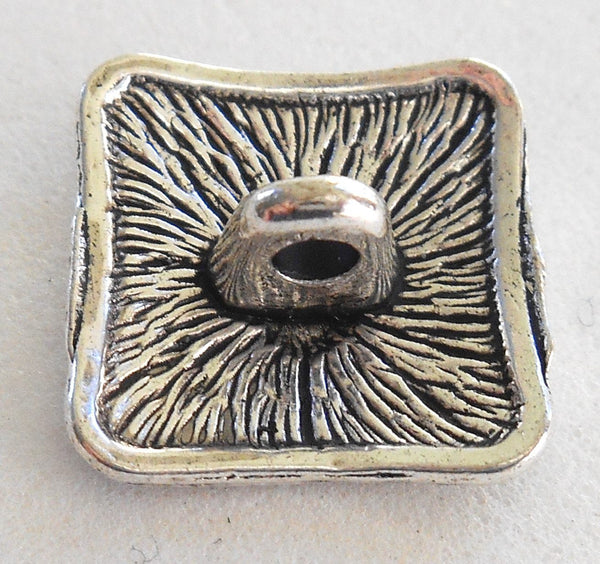 One antique silver 17mm decorative ornate square shank button, C7111