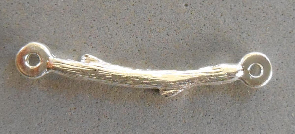 One silver plated pewter twig, branch, connector bar, Nunn Designs, 31 x 3mm, C0601 - Glorious Glass Beads