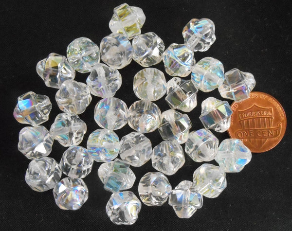 Ten Czech white iridescent Crystal AB antique cut turbine, cathedral, saturn beads, 11 x 10mm, C0101 - Glorious Glass Beads