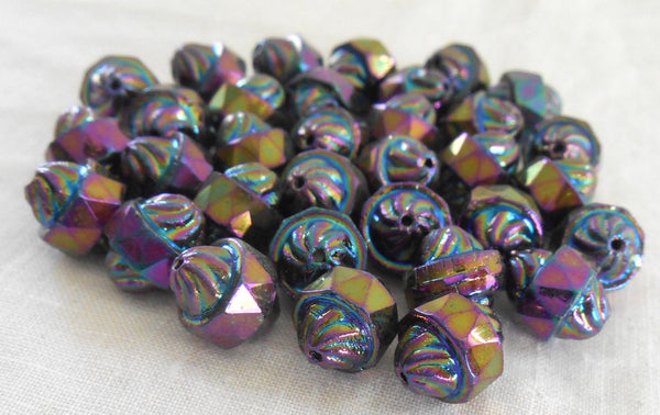Ten Czech glass multicolored Purple iridescent Iris antique cut turbine, cathedral, saturn beads, 11 x 10mm, C5901
