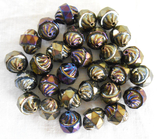 Ten Czech Brown multicolored iridescent glass Iris antique cut turbine, cathedral, saturn beads, 11 x 10mm, C8410