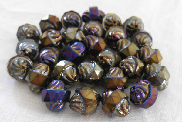 Ten Czech Brown multicolored iridescent glass Iris antique cut turbine, cathedral, saturn beads, 11 x 10mm, C8410 - Glorious Glass Beads