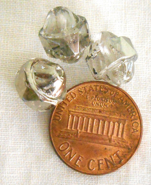 Ten Czech Platinum antique cut turbine, cathedral, saturn crystal glass beads, 11 x 10mm, C0101