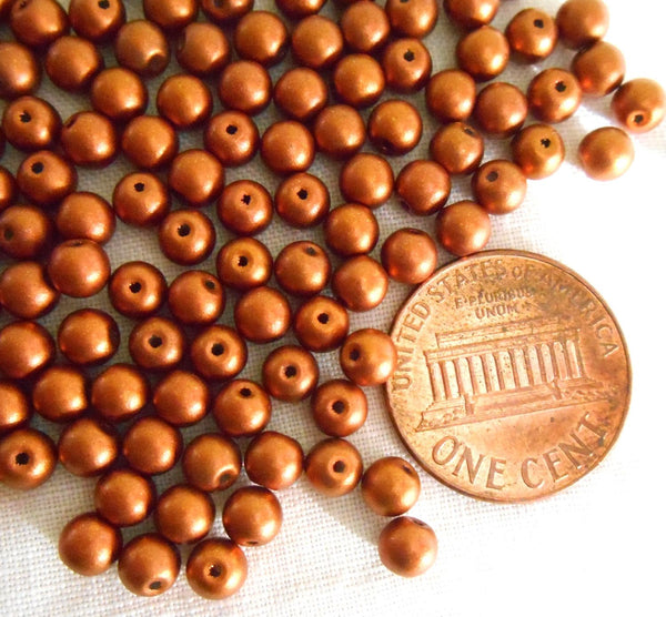 Fifty 4mm Czech glass copper metallic druk beads, C5250 - Glorious Glass Beads