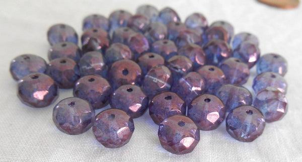 Lot of 25 6 x 9mm Czech glass Lumi Amethyst faceted puffy rondelle beads, C1725 - Glorious Glass Beads
