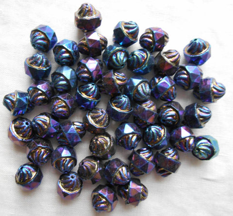 Ten Czech glass multicolored Blue iridescent Iris antique cut turbine, cathedral, saturn beads, 11 x 10mm, C5901