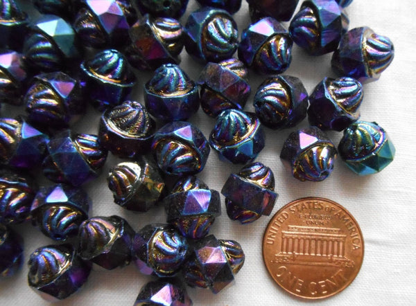 Ten Czech glass multicolored Blue iridescent Iris antique cut turbine, cathedral, saturn beads, 11 x 10mm, C5901 - Glorious Glass Beads