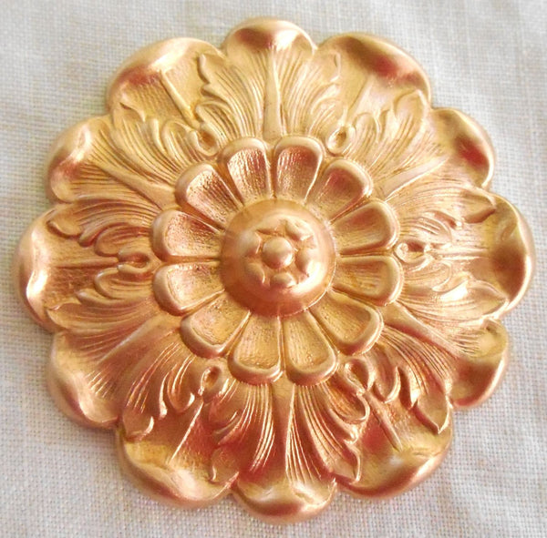 One raw brass Victorian flower head, medallion, pendant, charm, brass stamping, 42mm, made in the USA, C73101