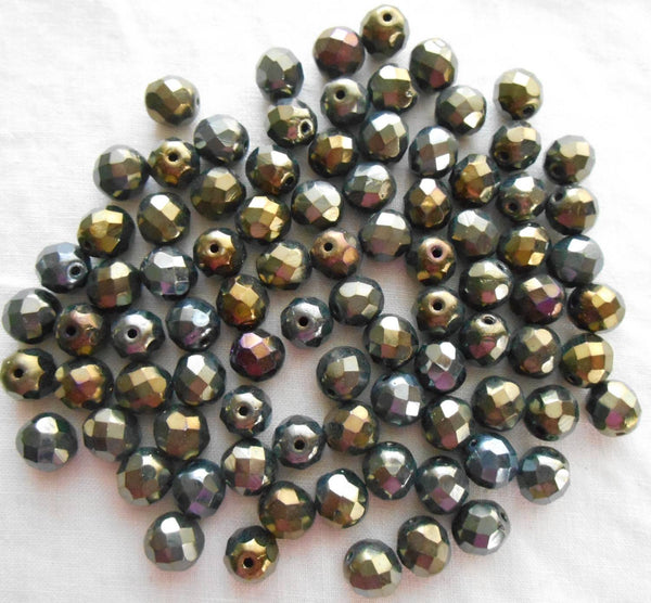 Lot of 25 8mm Brown Iris, faceted, round, firepolished glass beads, C2525