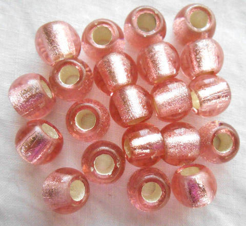 Six large 12mm Pink Silver Lined glass round beads, big 4.5mm holes, C4801