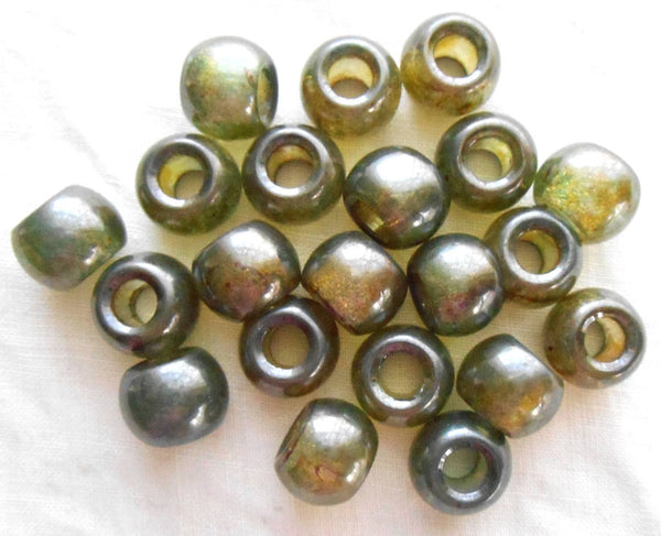 Six lumi Green 12mm rustic glass round beads, big 4.5mm holes, C8406 - Glorious Glass Beads