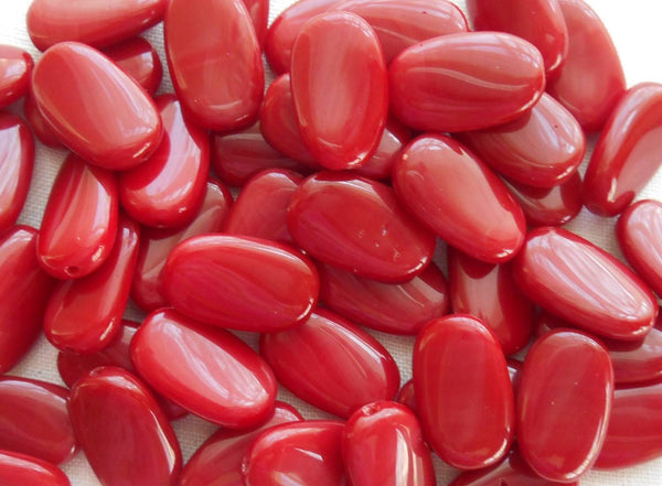 Lot of 25 Blood Red Opaque slightly twisted oval Czech pressed Glass beads, 14mm x 8mm, C3625 - Glorious Glass Beads