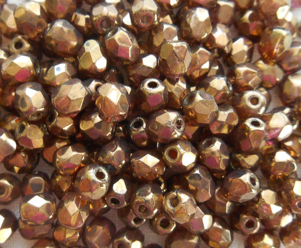 Fifty 4mm Czech glass Lumi Brown Baroque firepolished faceted round beads, C1550