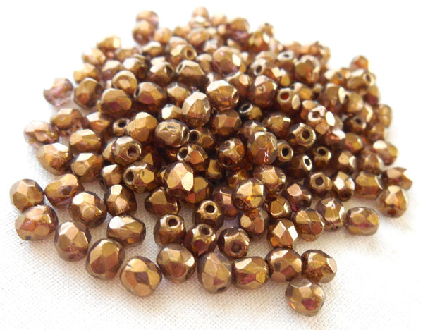 Fifty 4mm Czech glass Lumi Brown Baroque firepolished faceted round beads, C1550 - Glorious Glass Beads