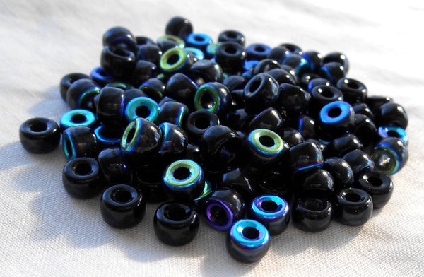 Fifty 6mm Czech Jet Black AB glass pony roller beads, large hole crow beads, C1450 - Glorious Glass Beads