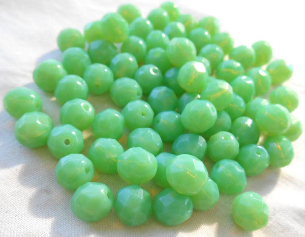 Lot of 25 8mm Jade Green Opal, opaque faceted round firepolished glass beads, C7825 - Glorious Glass Beads