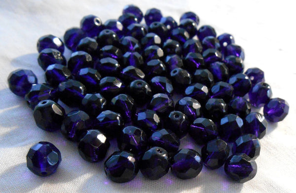 Lot of 25 8mm Deep violet, tanzanite faceted round firepolished glass beads, C0625
