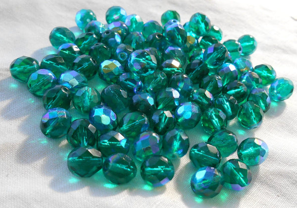 Lot of 25 8mm Teal AB faceted round firepolished glass beads, C2625