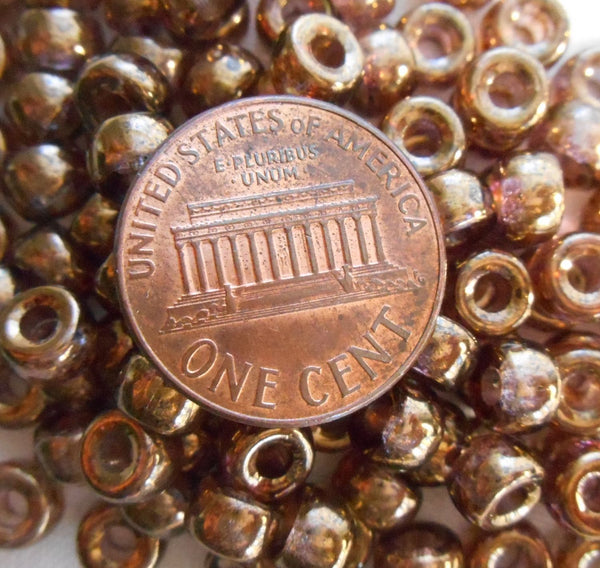 Fifty 6mm Czech Lumi Brown glass pony roller beads, large hole crow beads, C1550