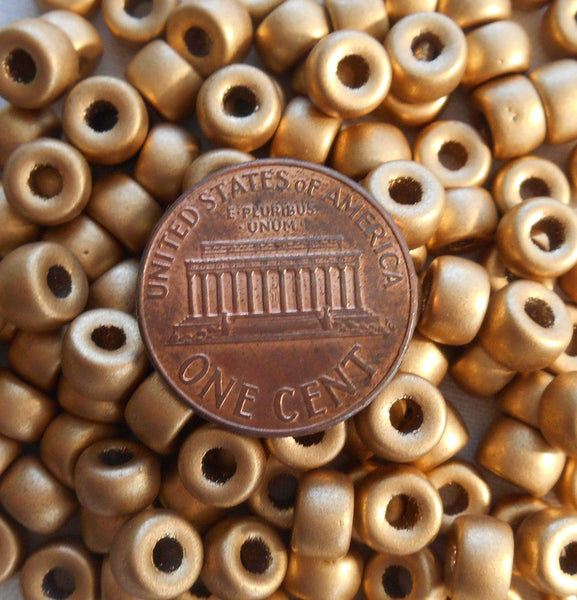 Fifty 6mm Czech Matte Metallic Gold glass pony roller beads, large hole crow beads, C6450