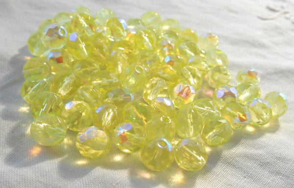 Lot of 25 8mm Jonquil Yellow AB faceted round firepolished glass beads, C7825