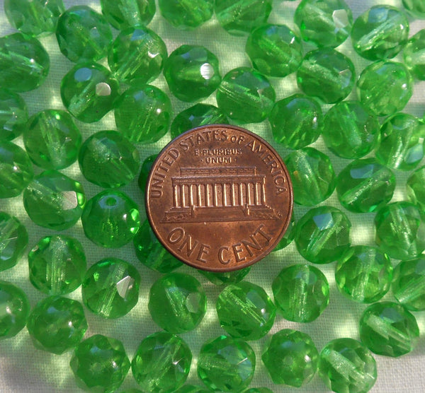 Lot of 25 8mm Mint Green, faceted round firepolished glass beads, C8425 - Glorious Glass Beads