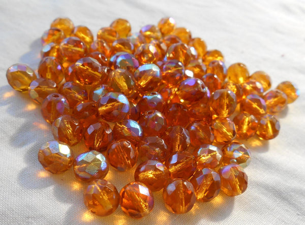 Lot of 25 8mm Amber AB, faceted round firepolished glass beads, C7725