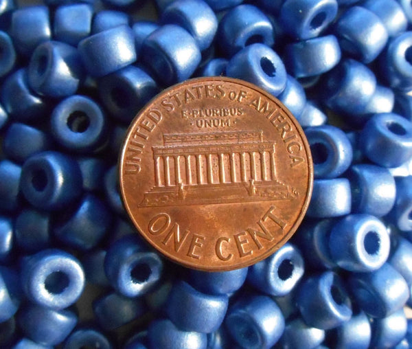 Fifty 6mm Czech glass Matte Metallic Periwinkle Blue pony roller beads, large hole crow beads, C6450