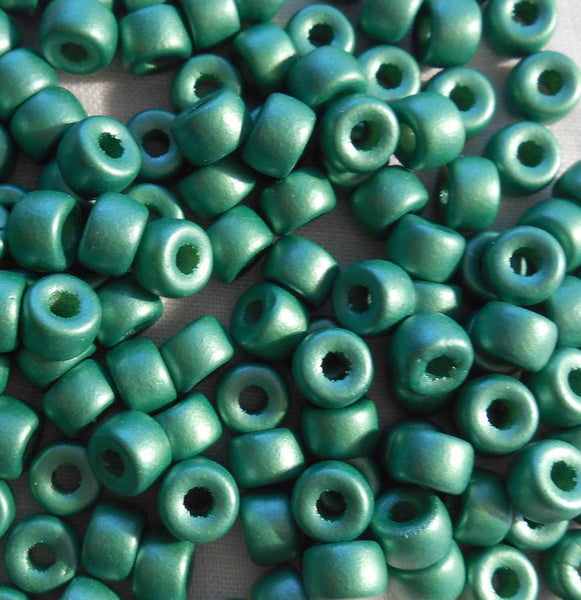Fifty 6mm Czech Matte Metallic Green glass pony roller beads, large hole crow beads, C8750 - Glorious Glass Beads