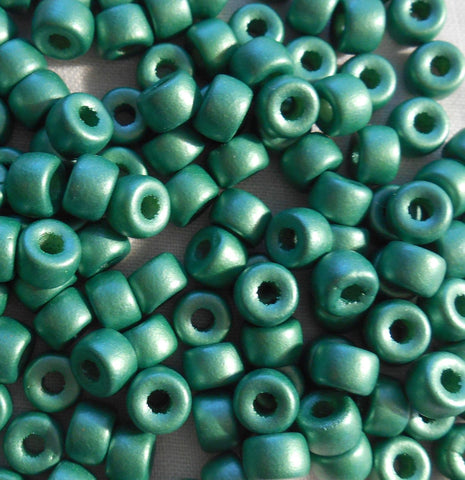 Fifty 6mm Czech Matte Metallic Green glass pony roller beads, large hole crow beads, C8750