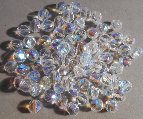 Lot of 25 8mm Crystal AB, faceted round firepolished glass beads, C4625