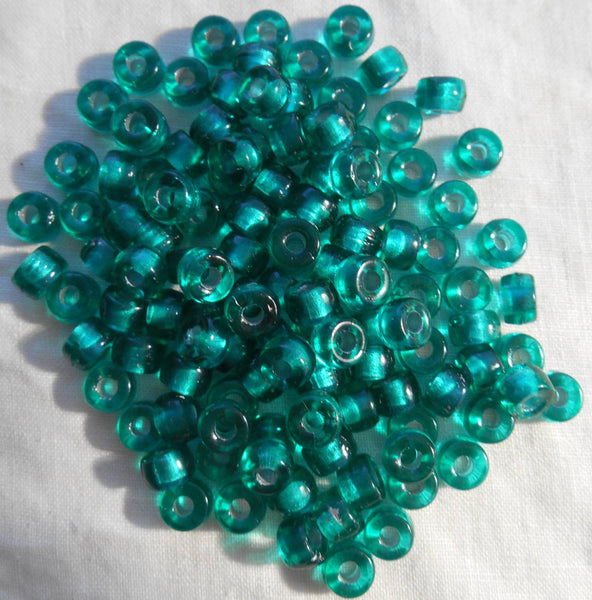 Fifty 6mm Czech Teal, Silver Lined glass pony roller beads, large hole crow beads, C6450 - Glorious Glass Beads